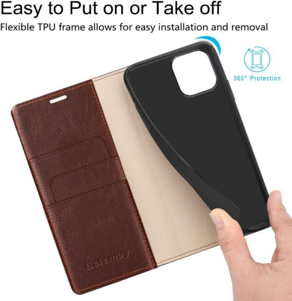 Bellamay Classic Leather Wallet Case For iPhone 12 Pro Max With Cardholders