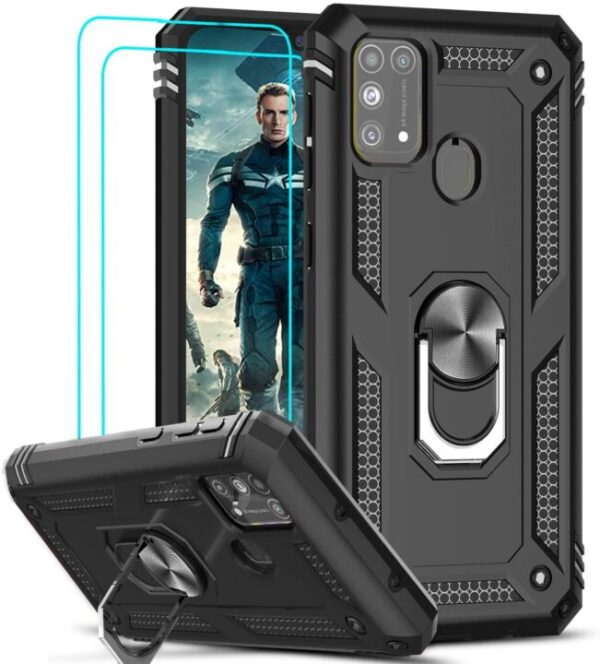 Leyi Armor Protective Case for Samsung Galaxy M31 with Tempered Glass Screen Protector