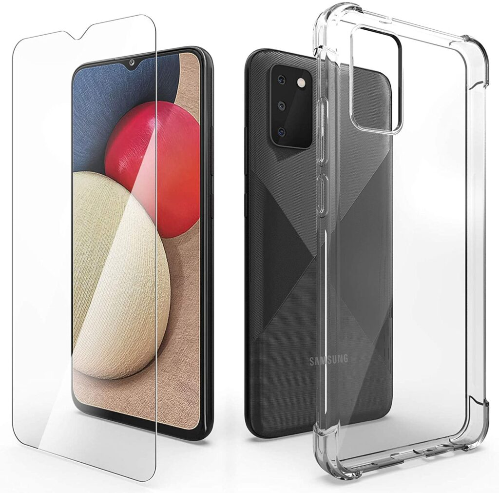 Saturday Clear Case for Samsung Galaxy A02S with Screen Protector