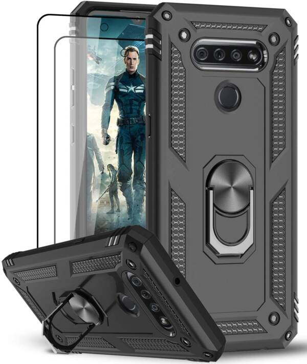 New Leyi Military Grade Case For LG K51 with Metal Kickstand