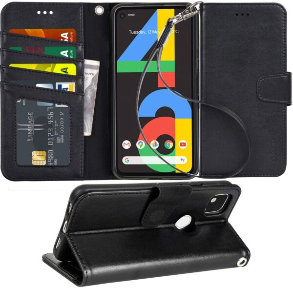 Arae Case for Google Pixel 4A PU Leather Wallet Case Cover with Wrist Strap