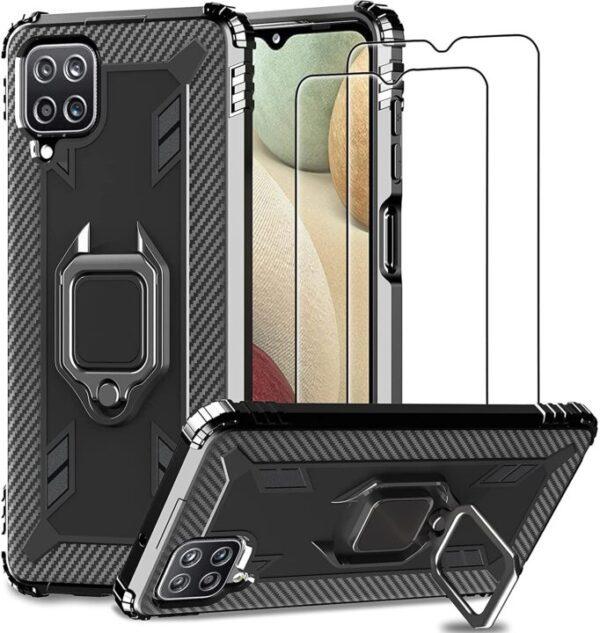 IMBZBK Samsung A12 Case and Screen Protector With 360 Degree Rotation FingerRing Kickstand