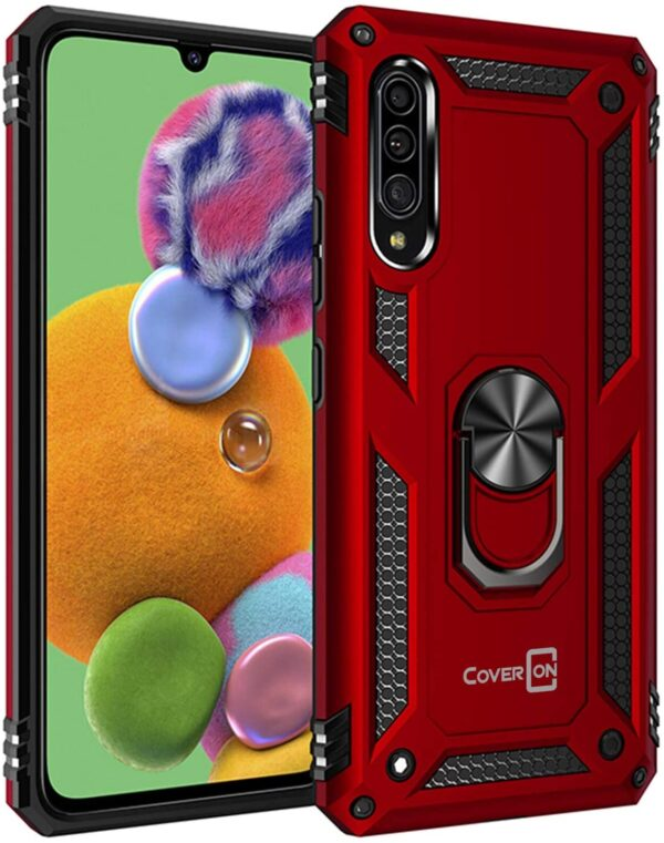 Red CoverON Resistor Series Samsung A90 5G 360 case With Metal Ring Holder Kickstand